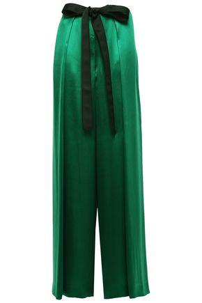 AMANDA WAKELEY Tie-front pleated silk-satin wide-leg pants