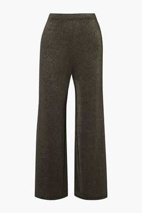 SID NEIGUM Cropped metallic stretch-jersey wide-leg pants