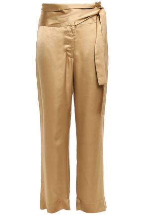 FORTE_FORTE Belted satin wide-leg pants