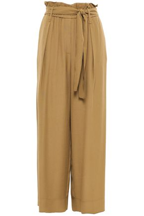 FORTE_FORTE Belted crinkled-crepe wide-leg pants