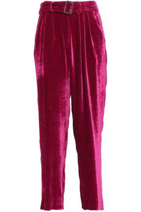 FORTE_FORTE Belted velvet wide-leg pants