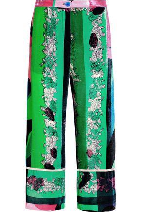 EMILIO PUCCI Cropped floral-print velvet wide-leg pants