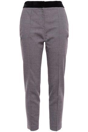 ALEXANDER WANG Cropped velvet-trimmed stretch-woven slim-leg pants