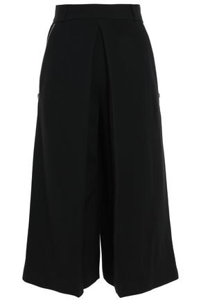 ALEXANDER WANG Zip-embellished pleated crepe culottes