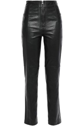 TIBI Leather slim-leg pants