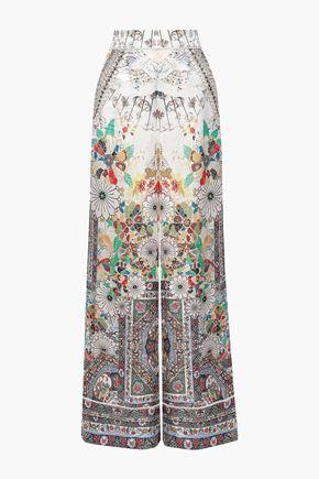 CAMILLA Crystal-embellished printed satin-jacquard wide-leg pants