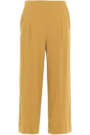 CHALAYAN Cropped satin-crepe wide-leg pants