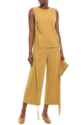 CHALAYAN Cropped satin-crepe wide-leg pants