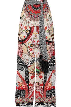 CAMILLA Vintage Vixen fringe-trimmed washed-silk wide-leg pants