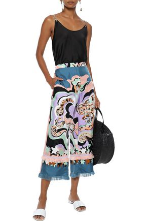 EMILIO PUCCI Cropped fringe-trimmed printed silk-twill wide-leg pants