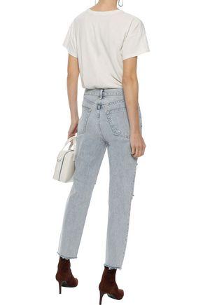 RAG & BONE Cropped distressed high-rise slim-leg jeans