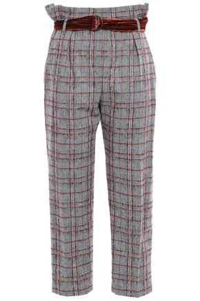 BRUNELLO CUCINELLI Belted checked brushed wool-blend straight-leg pants