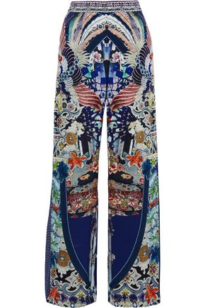 CAMILLA Darling's Destiny crystal-embellished printed silk wide-leg pants