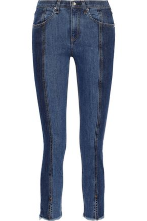 RAG & BONE Evelyn cropped frayed high-rise skinny jeans
