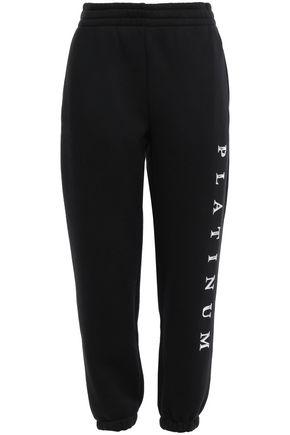 ALEXANDER WANG Cropped appliquéd cotton-blend fleece track pants