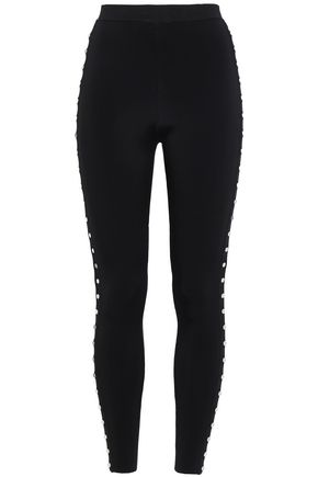 ALEXANDER WANG Button-embellished stretch-knit leggings