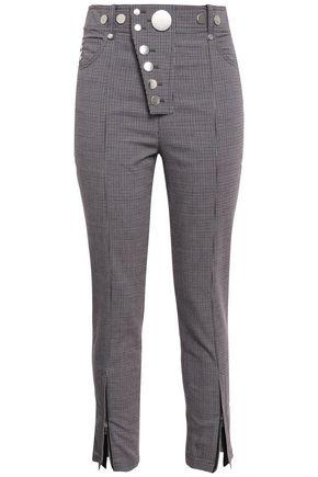 ALEXANDER WANG Cropped button-embellished stretch-crepe slim-leg pants
