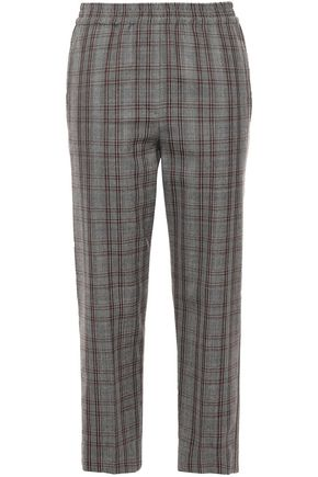 BRUNELLO CUCINELLI Cropped checked wool straight-leg pants