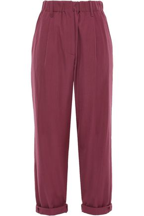 BRUNELLO CUCINELLI Cropped wool and cotton-blend straight-leg pants