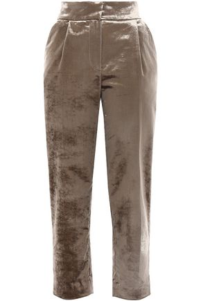 BRUNELLO CUCINELLI Cropped cotton-blend velvet tapered pants
