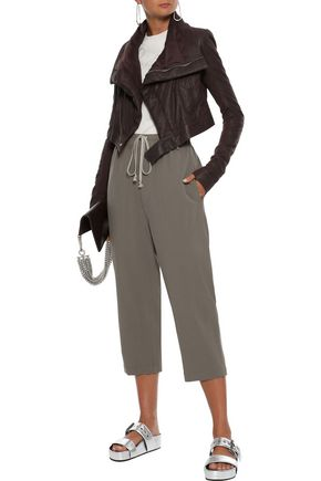 Rick Owens RICK OWENS WOMAN ASTAIRE CROPPED WOOL-CREPE STRAIGHT-LEG PANTS GRAY