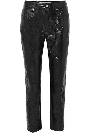 IRO Laker crinkled-leather straight-leg pants