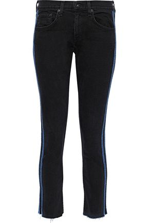 RAG & BONE Dre cropped striped mid-rise skinny jeans