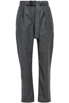 BRUNELLO CUCINELLI Belted wool straight-leg pants
