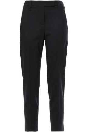 BRUNELLO CUCINELLI Cropped bead-embellished wool-blend slim-leg pants