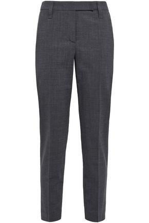BRUNELLO CUCINELLI Cropped embellished wool-blend slim-leg pants