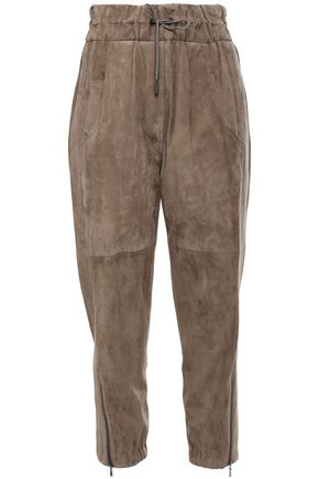 BRUNELLO CUCINELLI Cropped suede tapered pants