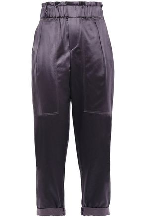 BRUNELLO CUCINELLI Cropped cotton-blend satin tapered pants