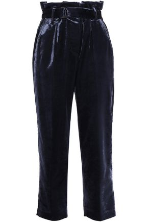 BRUNELLO CUCINELLI Cropped belted cotton-blend velvet tapered pants