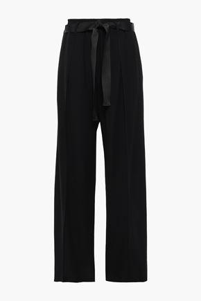BRUNELLO CUCINELLI Satin-trimmed twill wide-leg pants