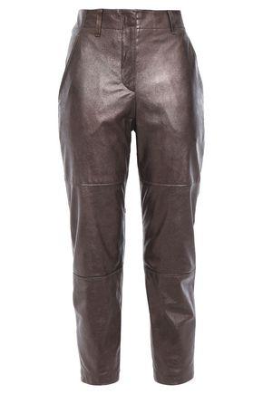 BRUNELLO CUCINELLI Cropped metallic glossed-leather slim-leg pants