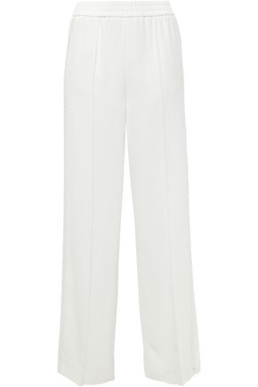 GOEN.J Lace-trimmed crepe wide-leg pants