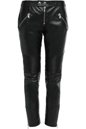 REDValentino Zip-detailed leather slim-leg pants
