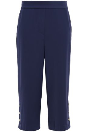 MICHAEL MICHAEL KORS Cropped button-detailed stretch-cady straight-leg pants