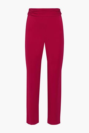 CUSHNIE Cropped ruched cady slim-leg pants