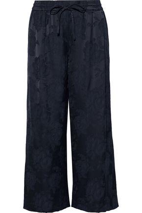 VINCE. Cropped satin-jacquard wide-leg pants