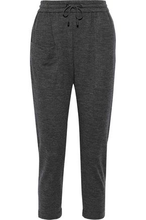 BRUNELLO CUCINELLI Cropped bead-embellished cashmere track pants