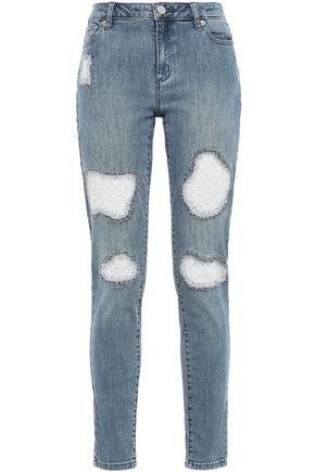 MICHAEL MICHAEL KORS Embroidered distressed high-rise skinny jeans