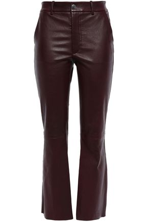 HELMUT LANG Cropped leather kick flare pants