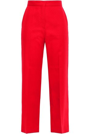 SANDRO Cropped jacquard straight-leg pants