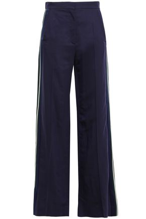 SANDRO Satin-trimmed woven straight-leg pants