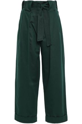 SANDRO Belted cotton-gabardine wide-leg pants