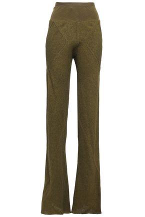 RICK OWENS Rib-trimmed hammered satin-crepe flared pants