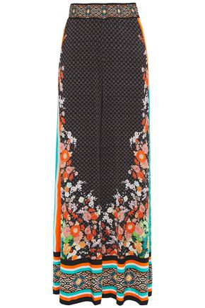 CAMILLA Crystal-embellished printed stretch-jersey wide-leg pants