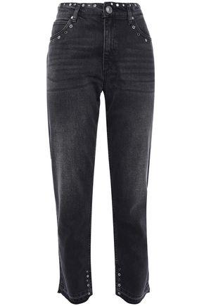 SANDRO Embellished high-rise slim-leg jeans