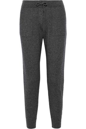 BRUNELLO CUCINELLI Cropped bead-embellished ribbed cashmere track pants